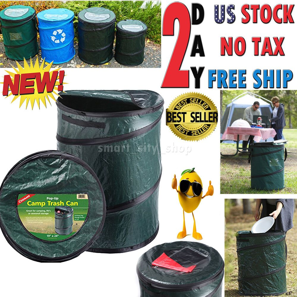 Pop Up Trash Can Garbage Bin Portable Camping Waste Disposal Collapsible Zipper Branded Standard Garbage Bin Waste Disposal Trash