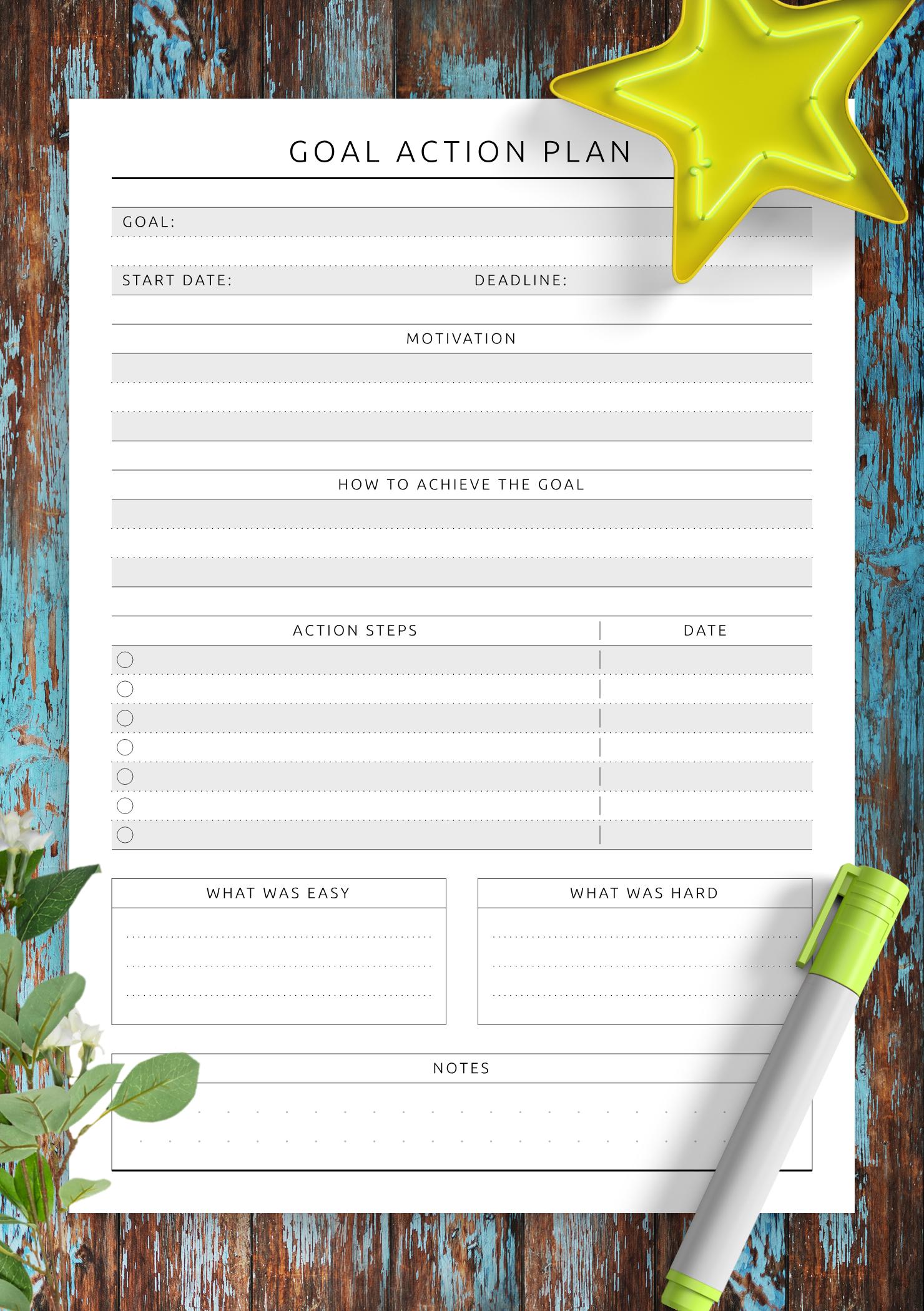 Download Printable Goal Action Plan