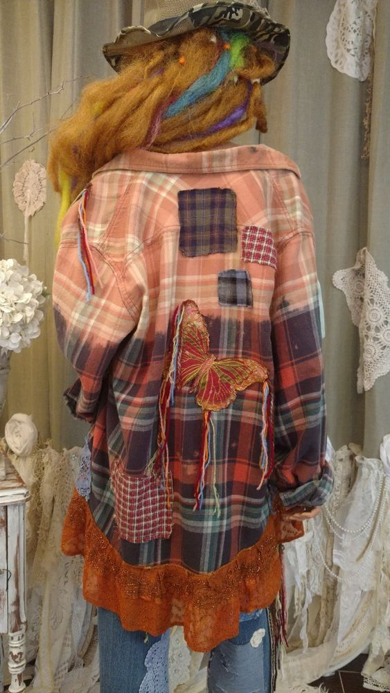Upcycled Xl Flannel Shirt Bleached Boho Top Distressed Festival Tunic Art Tmyers