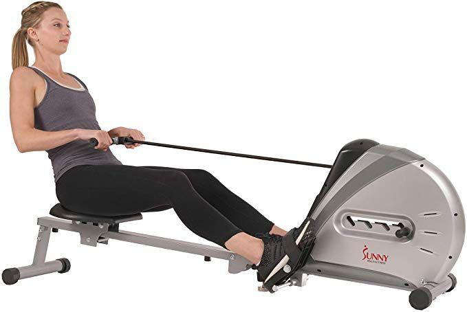 Amazon Com Sunny Health Fitness Sf Rw5606 Elastic Cord Rowing Machine Rower W Lcd Monitor Sports Outdoors 2020 Cardio Machines Rowing Machines Lcd Monitor