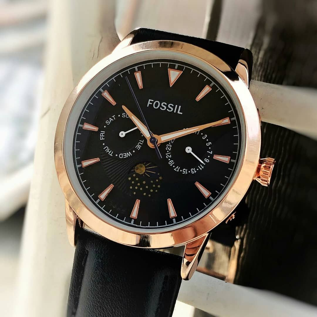 Fossil the agent moon phase high quality watch dm for