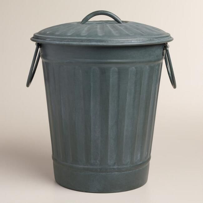 Large Steel Gray Retro Metal Trash Can V1 Metal Trash Cans Trash Can Retro Home Decor
