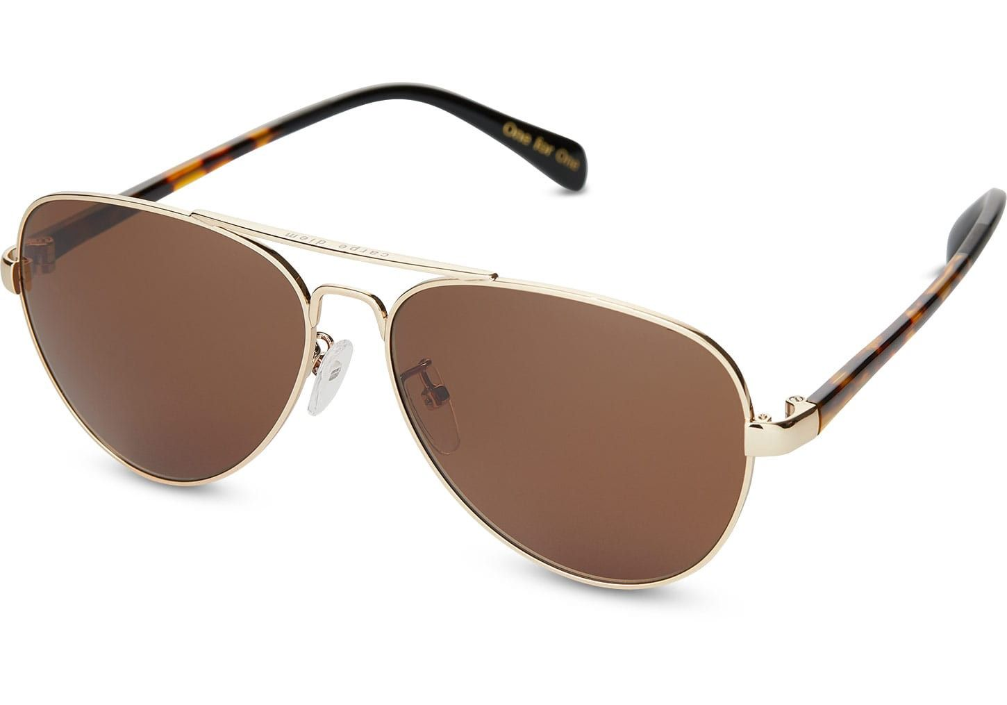 Toms Maverick 201 Shiny Gold Sunglasses With Solid Brown
