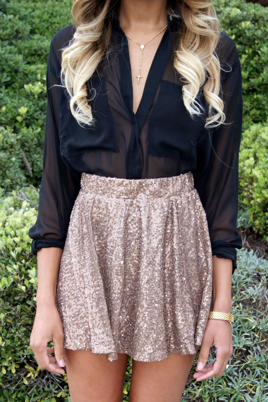 d421687c020e6 black sheer blouse + gold sequin skirt   new years eve outfit