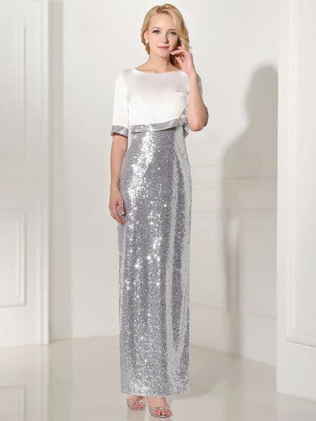 Silver Evening Dress Sequin 2 Piece Mother Dress Sheath