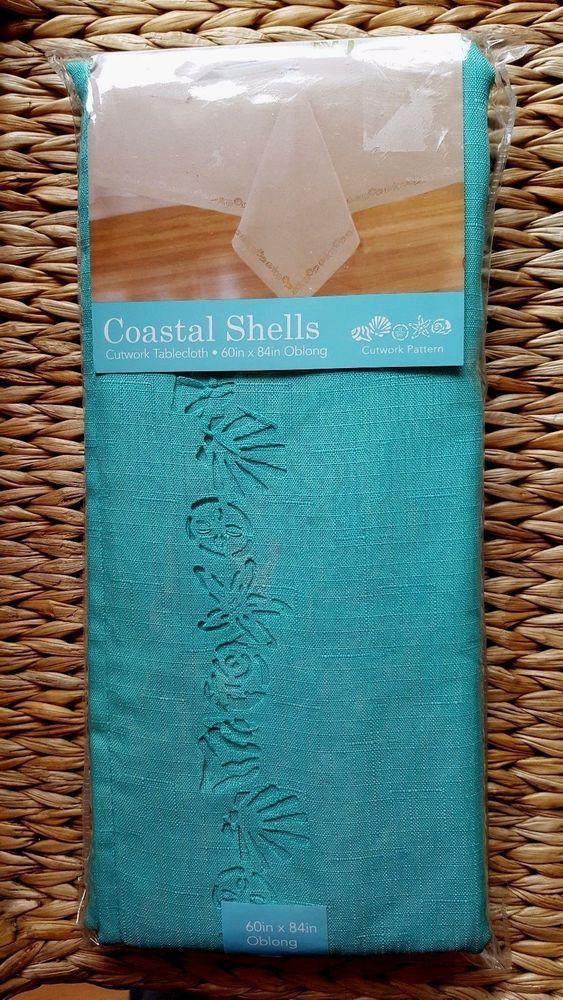 Coastal Shells Cutwork Fabric Tablecloth 60 X 102 Teal Summer Ocean #Elrene