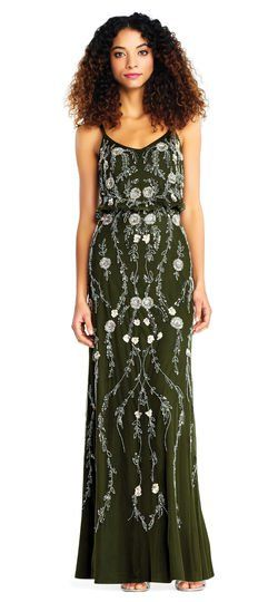 Adrianna Papell Floral Beaded Blouson Dress Bridesmaids