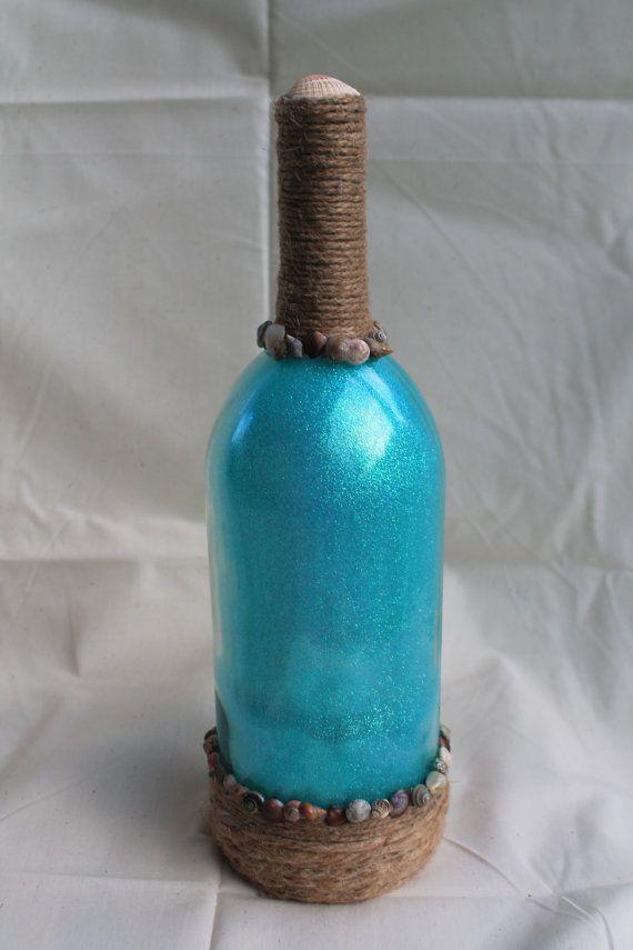 Beach decor Decorative wine bottle Nautical wine