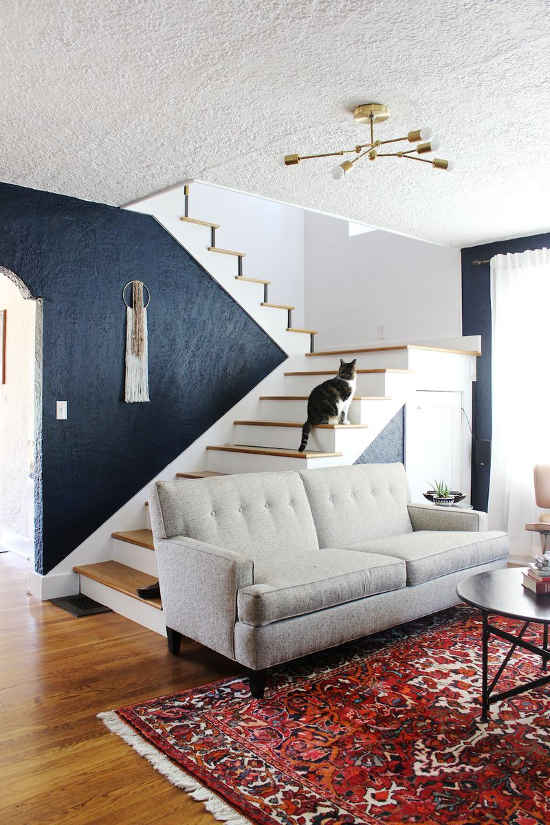 At Home With Mandy Pellegrin A Beautiful Mess Accent Walls In Living Room Home Living Room Scandinavian #navy #blue #living #room #accents