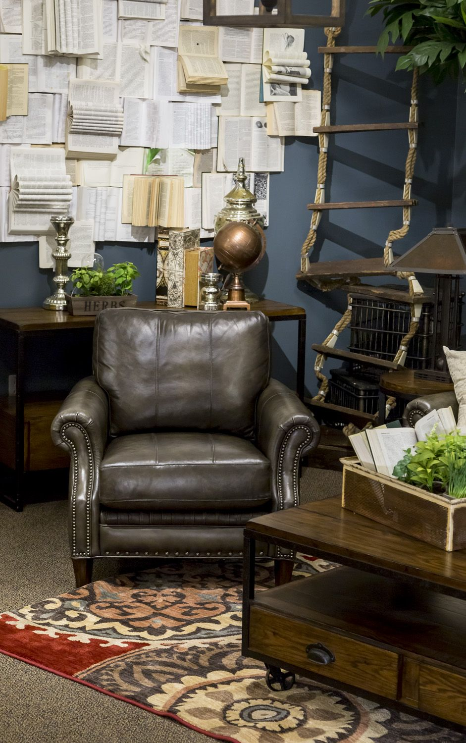 Introducing the latest style trend at nebraska furniture mart hip vintage its a little bit modern industrial a touch of antique book store with rustic