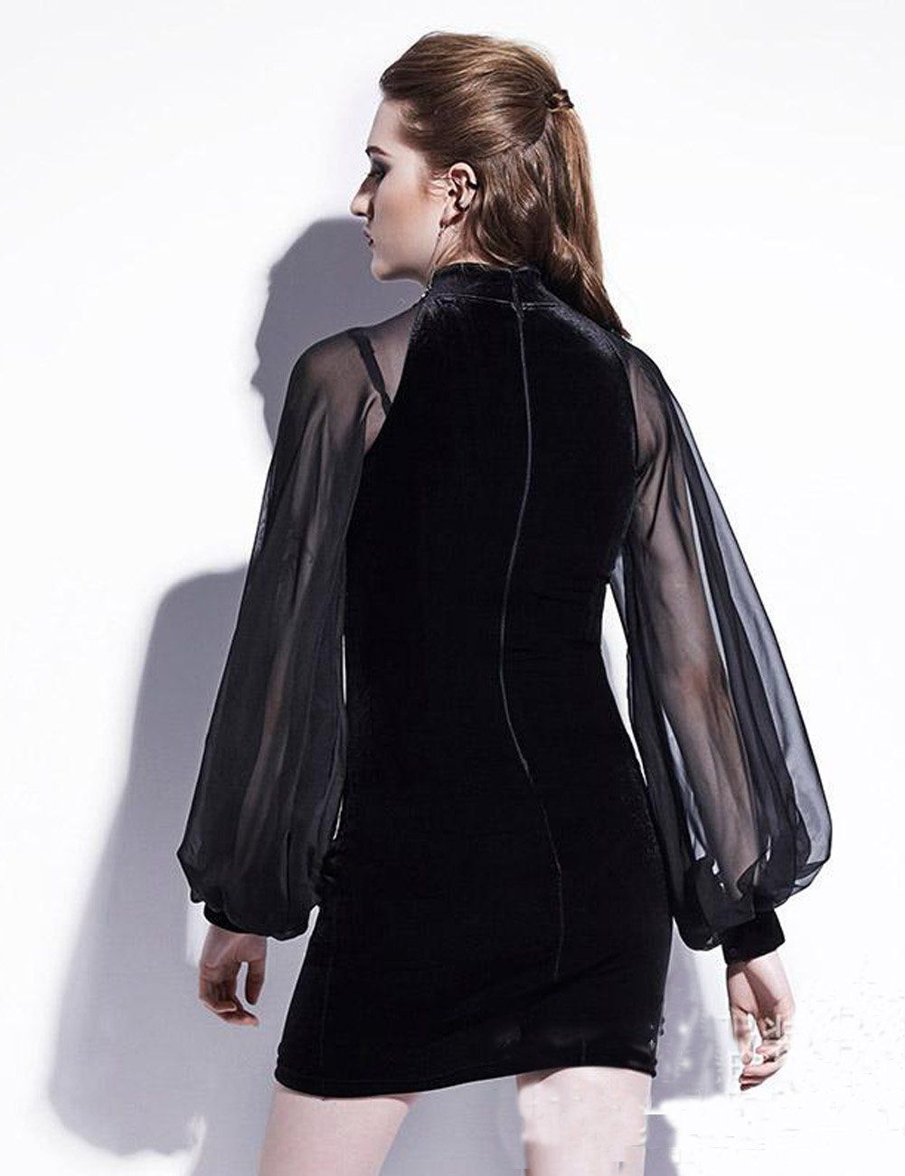 Puff Sleeve Chiffon Patchwork Velvet Mini Cheongsam Dress Mini Black Dress Short Bodycon Dress Bodycon Mini Dress [ 1300 x 1001 Pixel ]