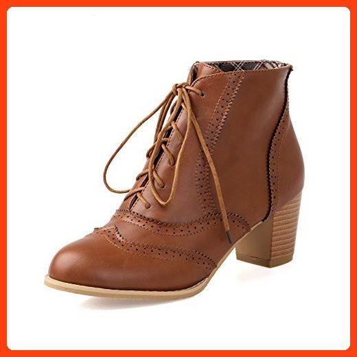 Women's Kitten-Heels Solid Round Closed Toe Soft Material Zipper Boots Brown 33