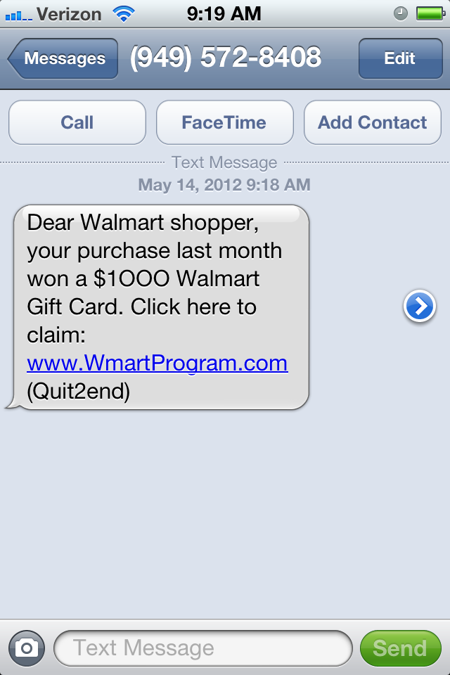 SCAM ALERT! Smishing Scam Offers Walmart Gift Card | Scams | Pinterest
