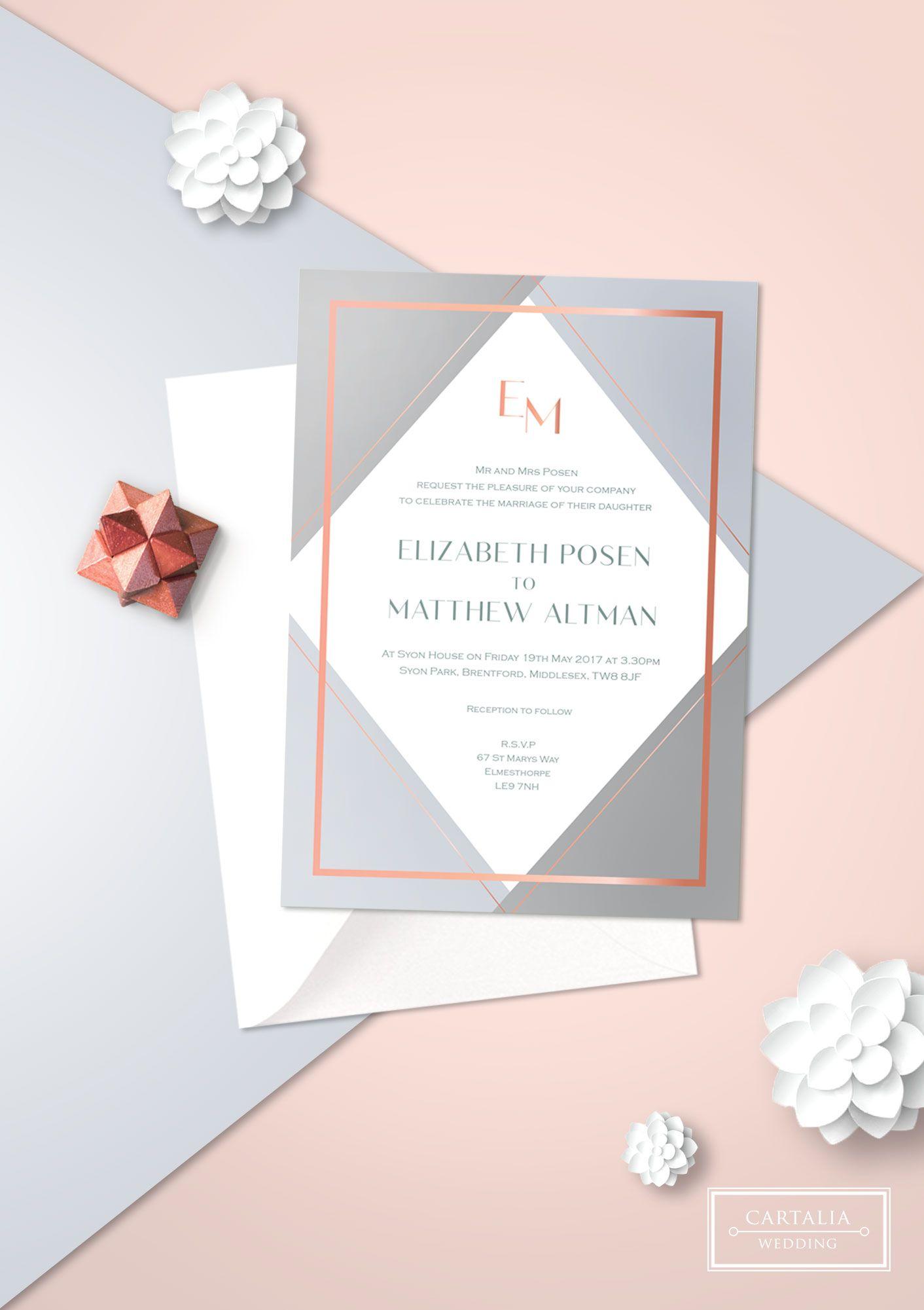 Geometric Rose Gold Foil Wedding Day Invitation Simple