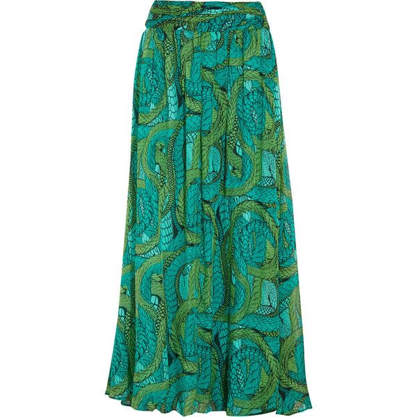 Issa Printed silk-chiffon maxi skirt ($295) ❤ liked on Polyvore