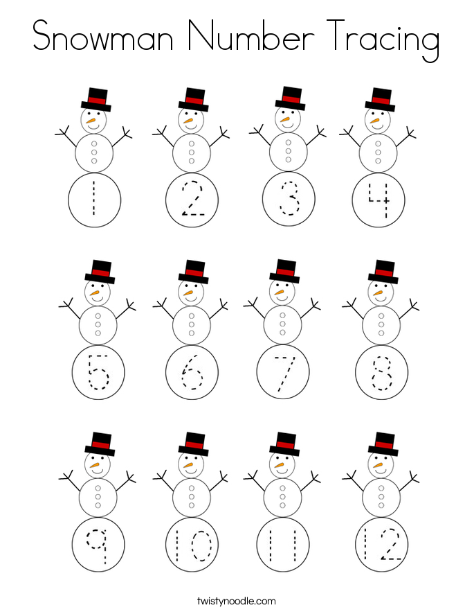 Snowman Number Tracing Coloring Page Twisty Noodle In 2021 Tracing Letters Preschool Winter Kindergarten Activities Number Tracing