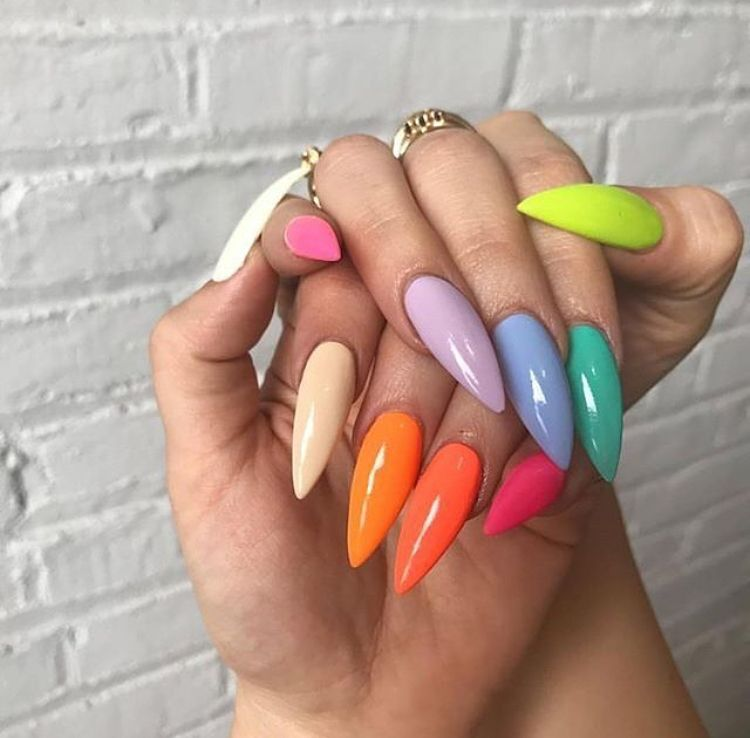 Pinterest Dayanabaltazar Rainbow Nails Neon Nails Stiletto