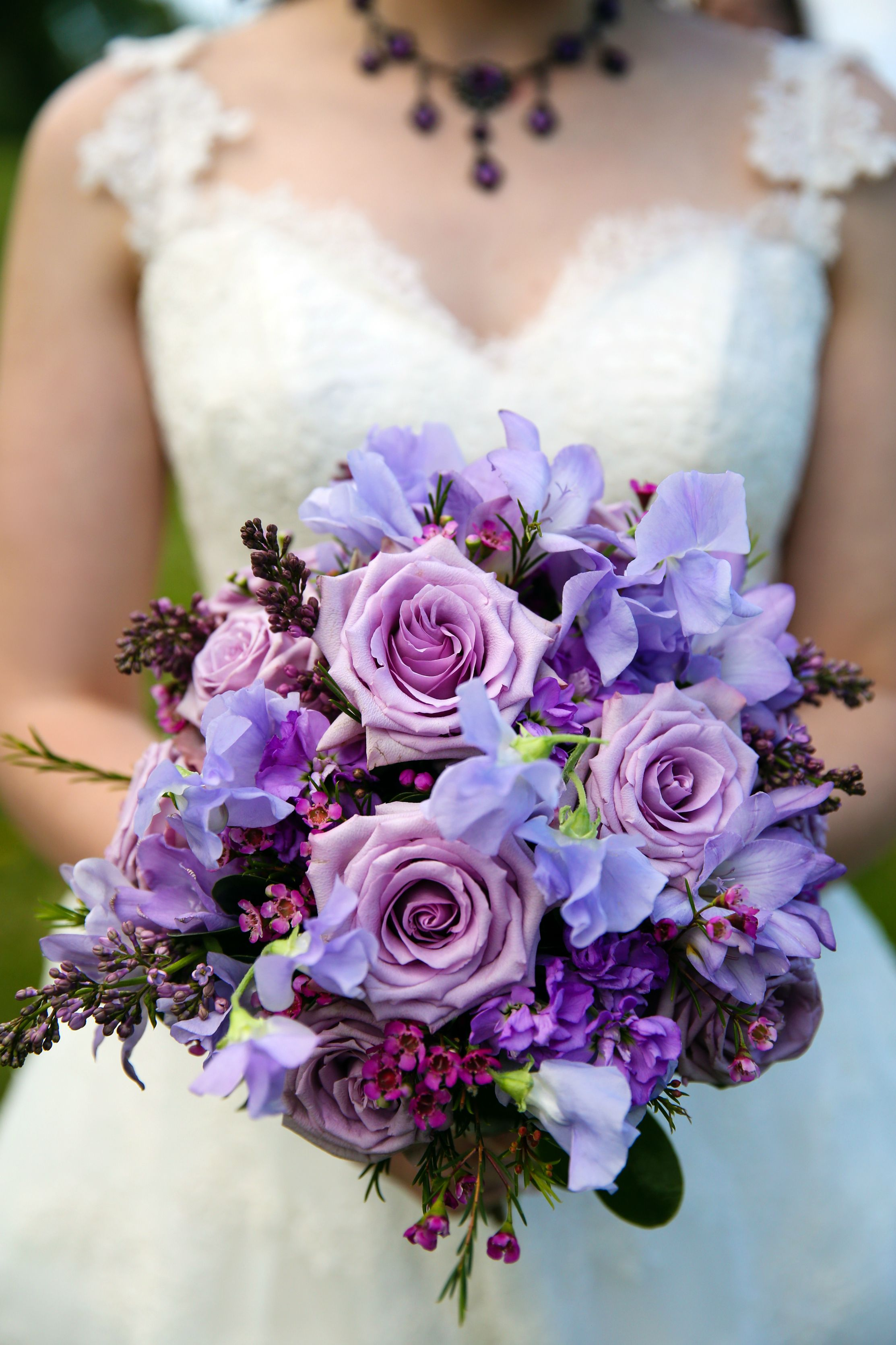 Purple Lavender Lilac Bouquet And Shades Of Rose Bridal Photo