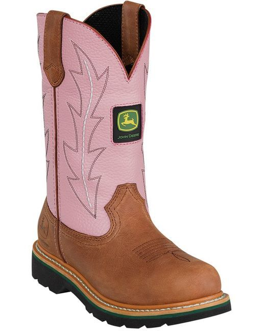 women s 10 pull on boots pink 121 john deere well john deere