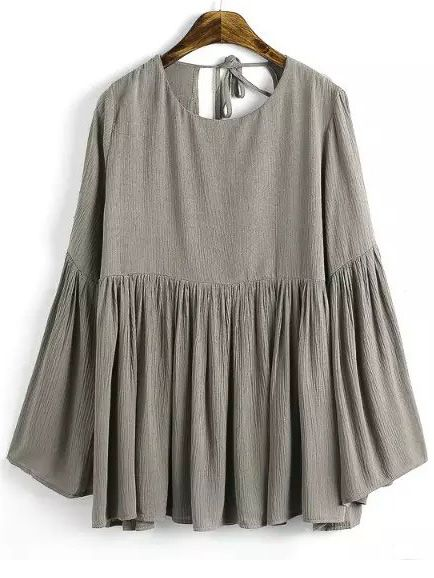 ef2fa6e6a3 Shop Khaki Bell Sleeve Knotted Loose Blouse online. SheIn offers Khaki Bell  Sleeve Knotted Loose Blouse   more to fit your fashionable needs.