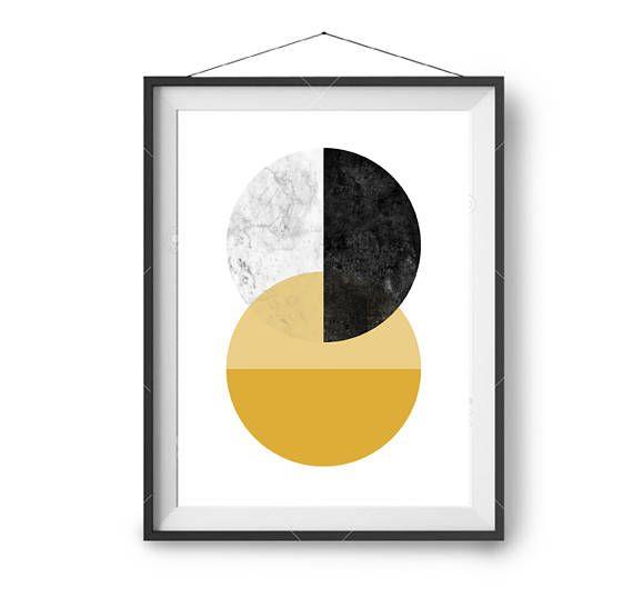 Abstract Art, Retro Print, Printable, Mustard Marble Black Poster ...