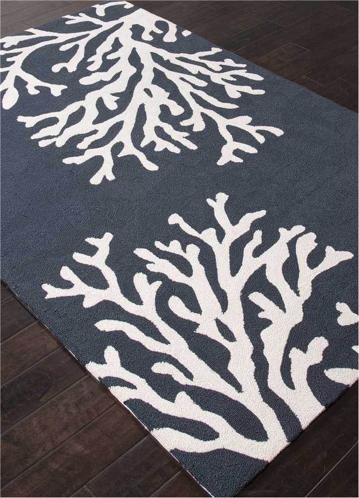 Navy Blue Coral Branch Out Area Rug Beach Cottage Decor Coastal Decorating Nautical Decor