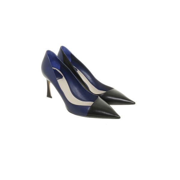 Pre-owned Two tone Pumps in black and blue ($490) ❤ liked on Polyvore featuring shoes, pumps, blue, blue pumps, black court shoes, pre owned shoes, black cap and black shoes