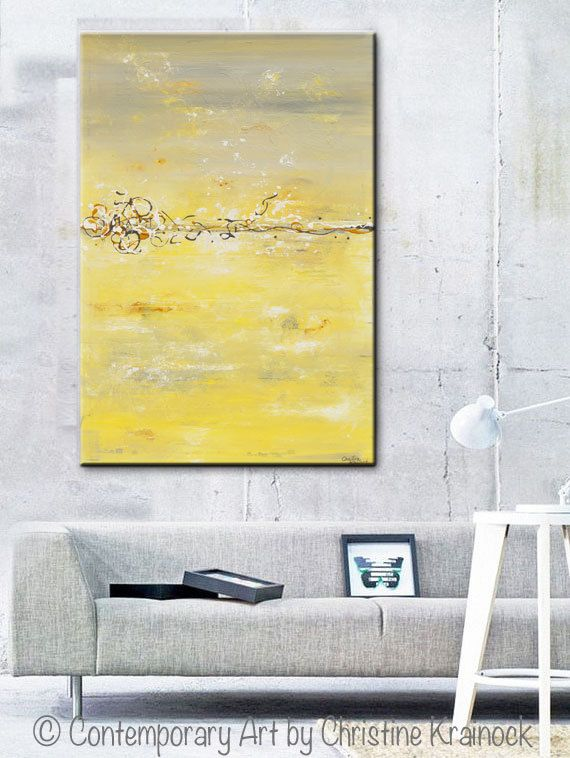 ORIGINAL Art Abstract Painting Yellow Grey Wall Art Acrylic Painting ...