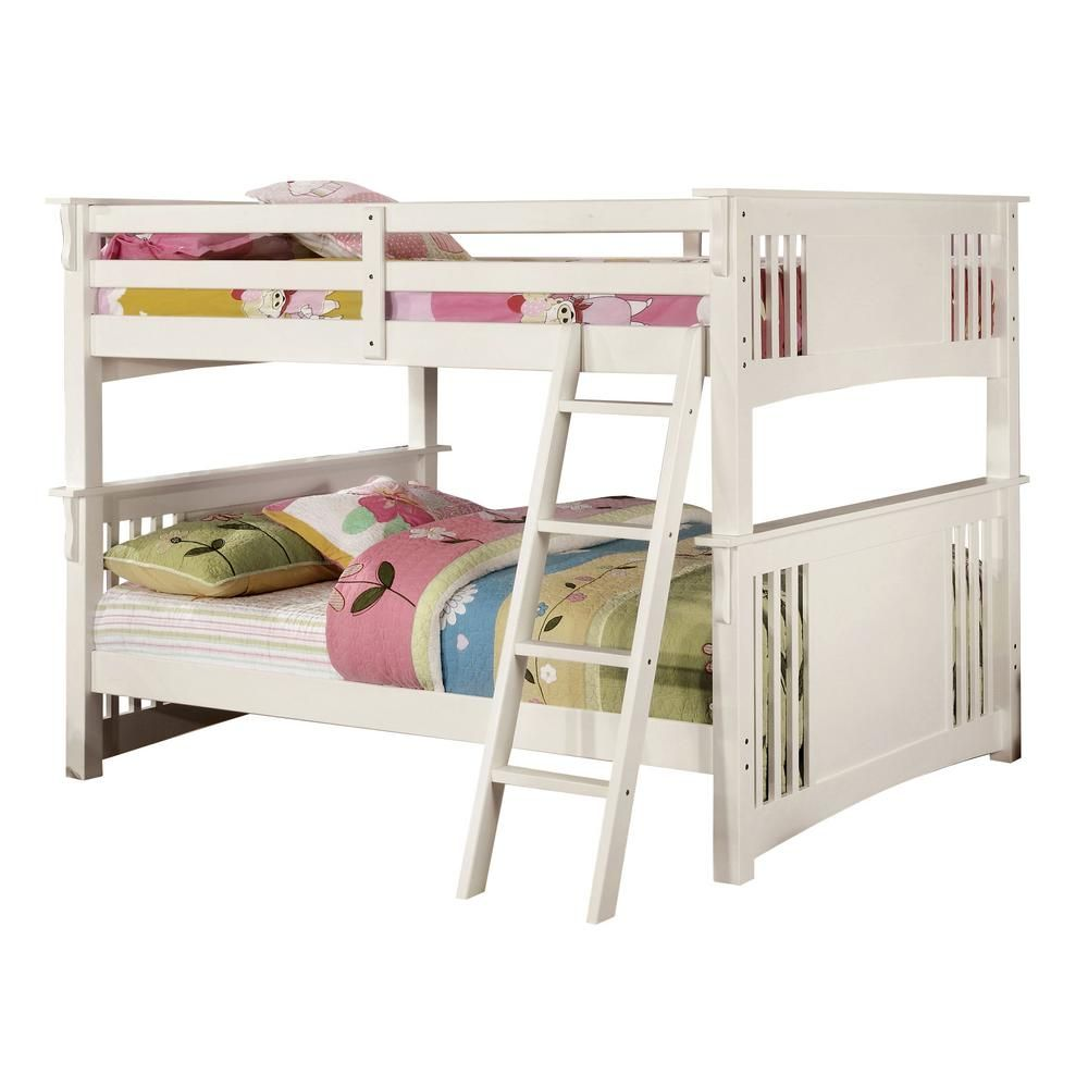 William S Home Furnishing Spring In White Creek Full Full Bunk Bed Cm Bk603wh Bed The Home Depot In 2021 Bunk Beds White Bunk Beds Full Bunk Beds