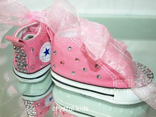Gorgeous Baby Girls Reborn Pink Blinged Converse Boots UK 1 EU 16 Like New | eBay