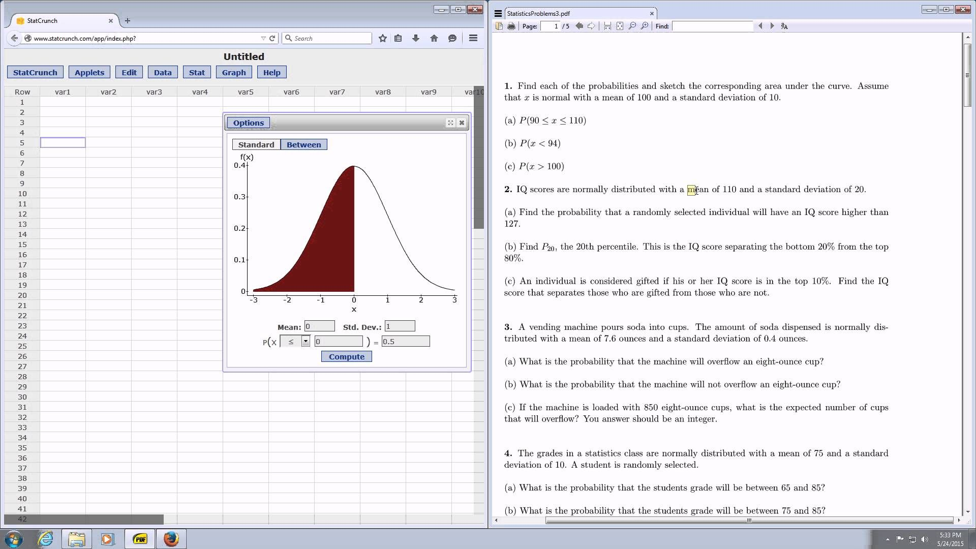 Statcrunch Normal Probability Calculator Example