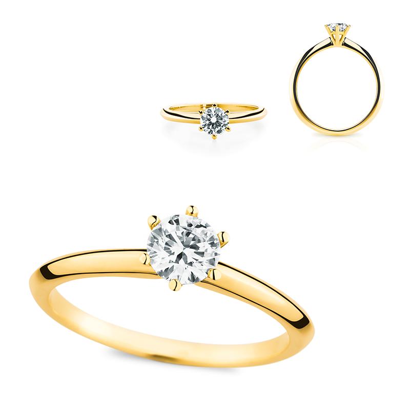 Verlobungsring Mit Diamant Brillant In 18 Karat Gelbgold Fur Euch
