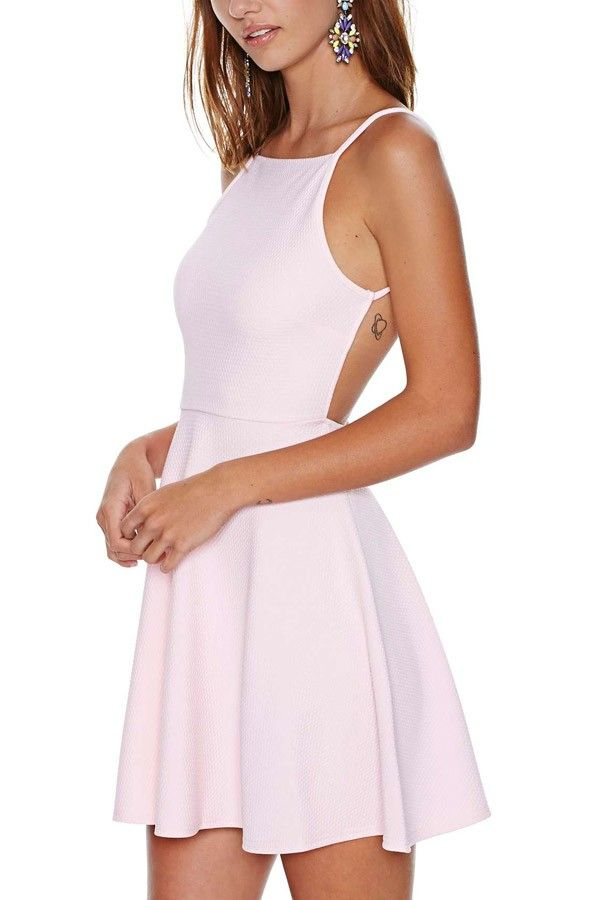 d9f96e3289 Light Pink Sexy Backless Skater Dress   Casual Dresses