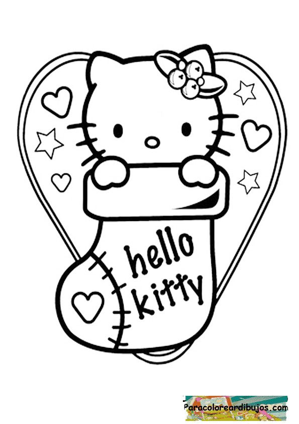 Hello Kitty Photo Christmas Coloring Page