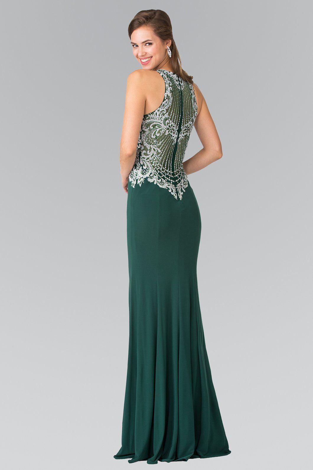 99dbdaff250 GLS GLS 2232 - High-Neck Prom Dress with Beaded Embroidered Illusion Bodice  - Diggz Prom