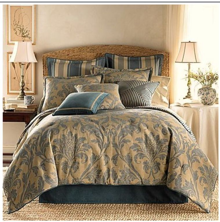 Charmant American Living Eastbourne King Comforter Set Blue/tan New #AmericanLiving