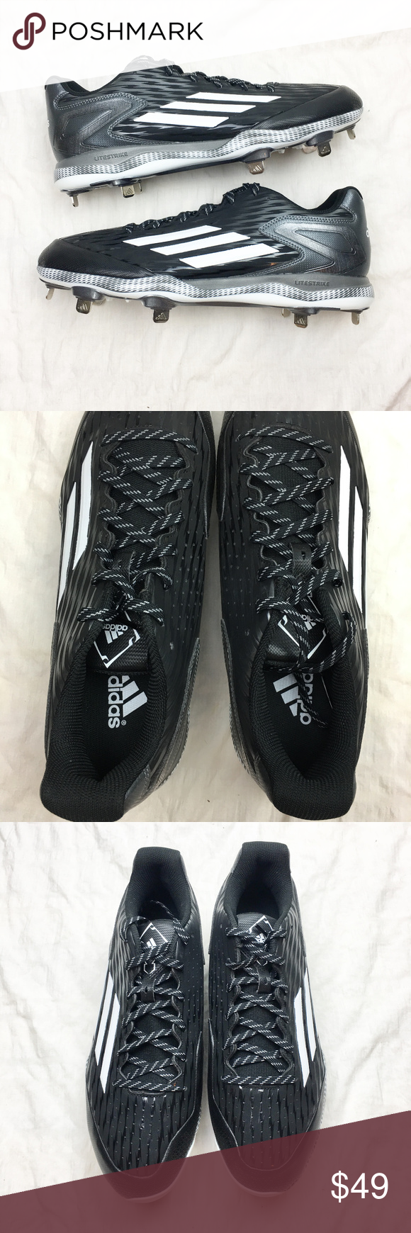 best sneakers 279a5 3ecda New Adidas Power Alley 3 Metal Baseball Cleats -New Adidas Power Alley 3  Metal Baseball