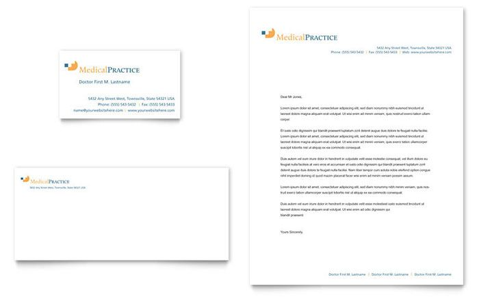 Medical Practice  Business Card  Letterhead Template Design