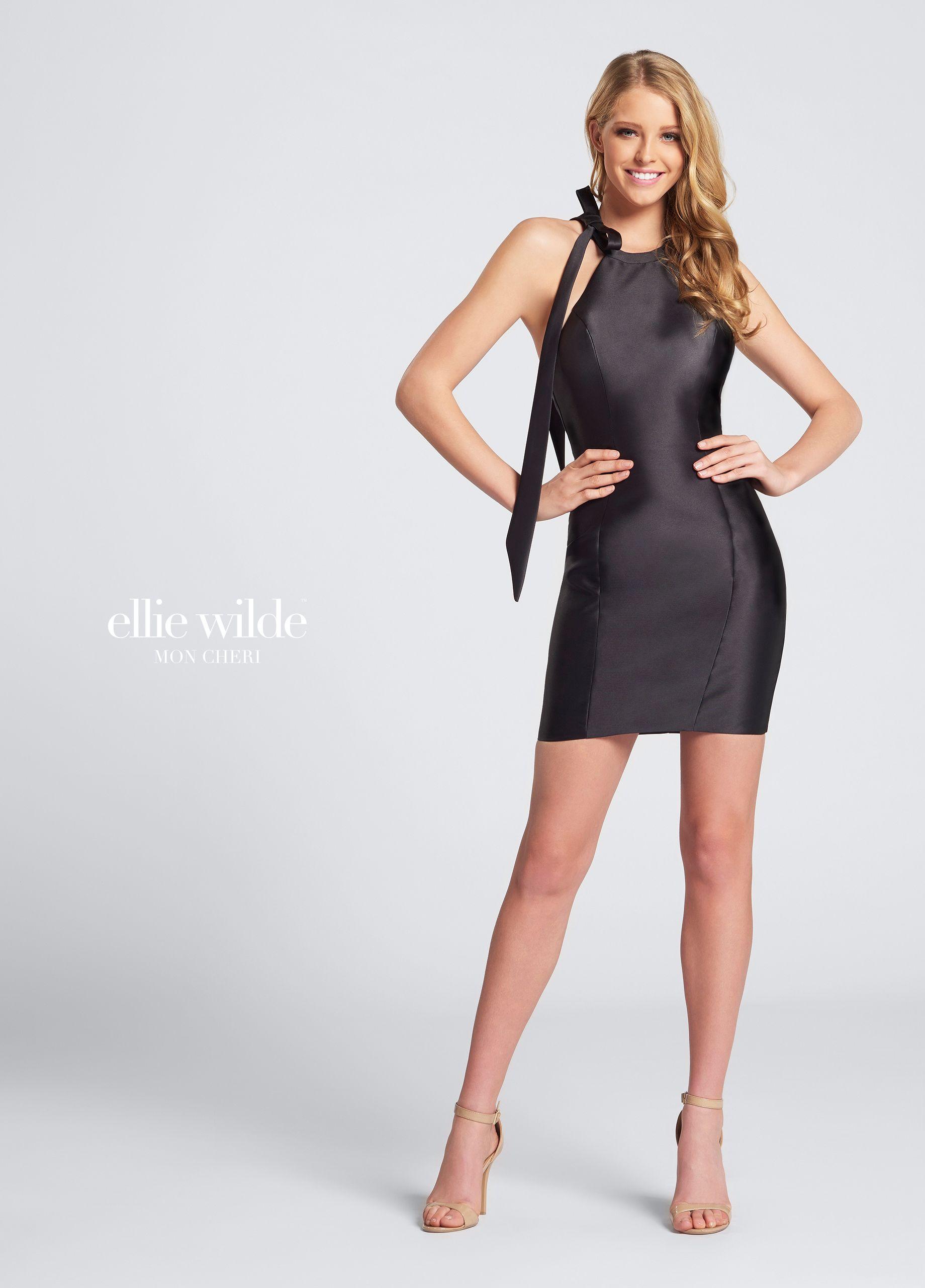 Open back short sheath mikado homecoming dress ews
