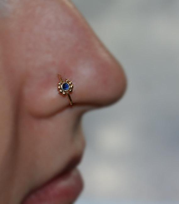 Cartilage Stud Gold 2mm Sapphire Nose Stud 20g Tragus Stud Nose Hoop