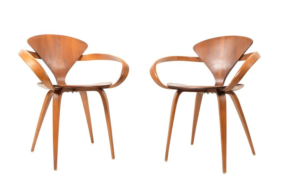 pair of rare by norman cherner armchairs in walnut for plycraft