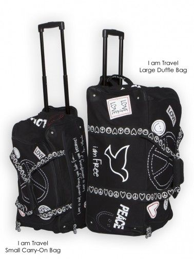 Peace Love World I Am Travel Black Large Duffle Bag Bags Totes Accessories