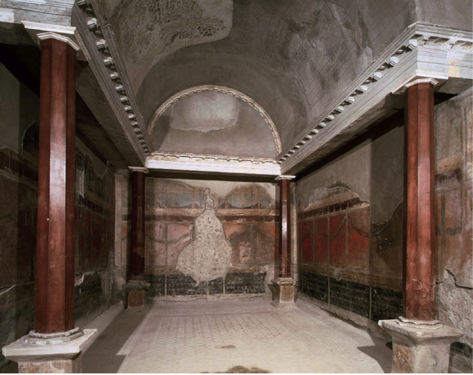 270-ROMAN ARCHITECTURE, Residential Buildings, Pompeii: Oecus, House of the Silver Wedding, 3rd century, renovated 1st century. The wall of the Oecus (principal hall/salon, used as a dining room) was built of wood.  wooden columns on bases was painted purplish red .