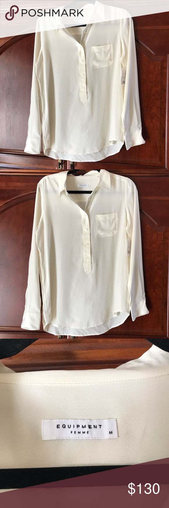 55056c23b9a14 100% silk. Size medium. Natural white color. Buttons down 3 4 of the way.  Long sleeves. Open to offers Equipment Tops Button Down Shirts