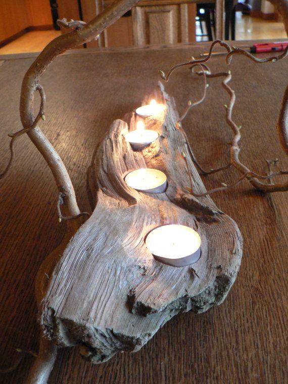 Driftwood art candle holder votive mantle