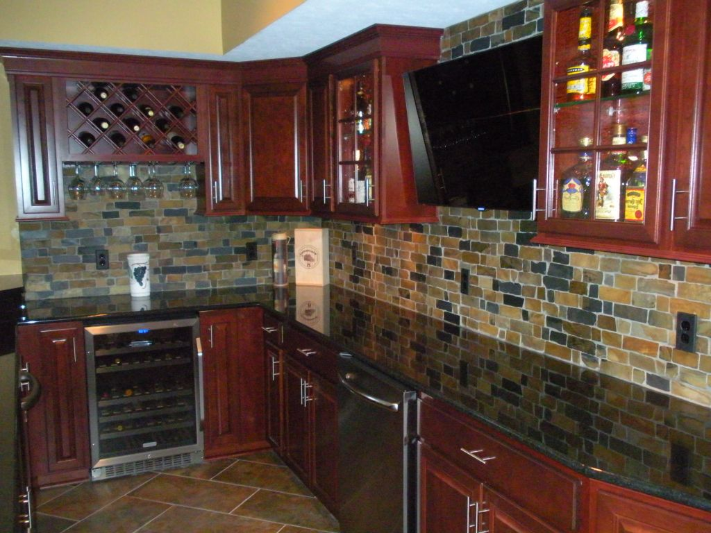 Granite Countertop Fantastic Cherry Kitchen Cabinets With
