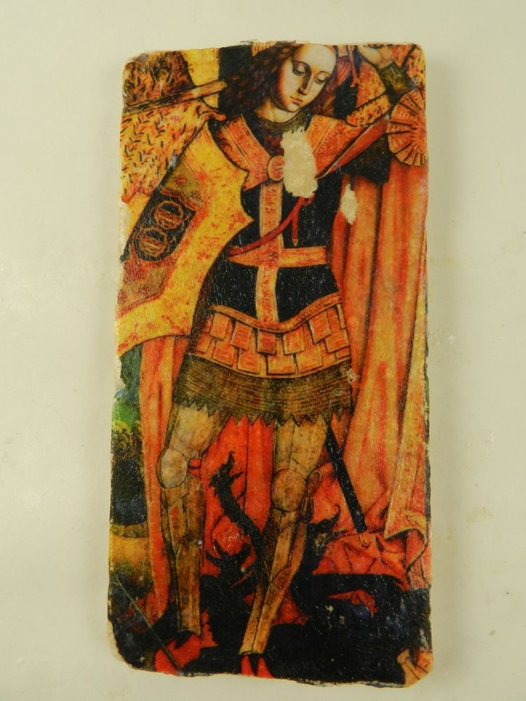 Archangel st michael slaying satan serpent stone icon wall plaque handmade