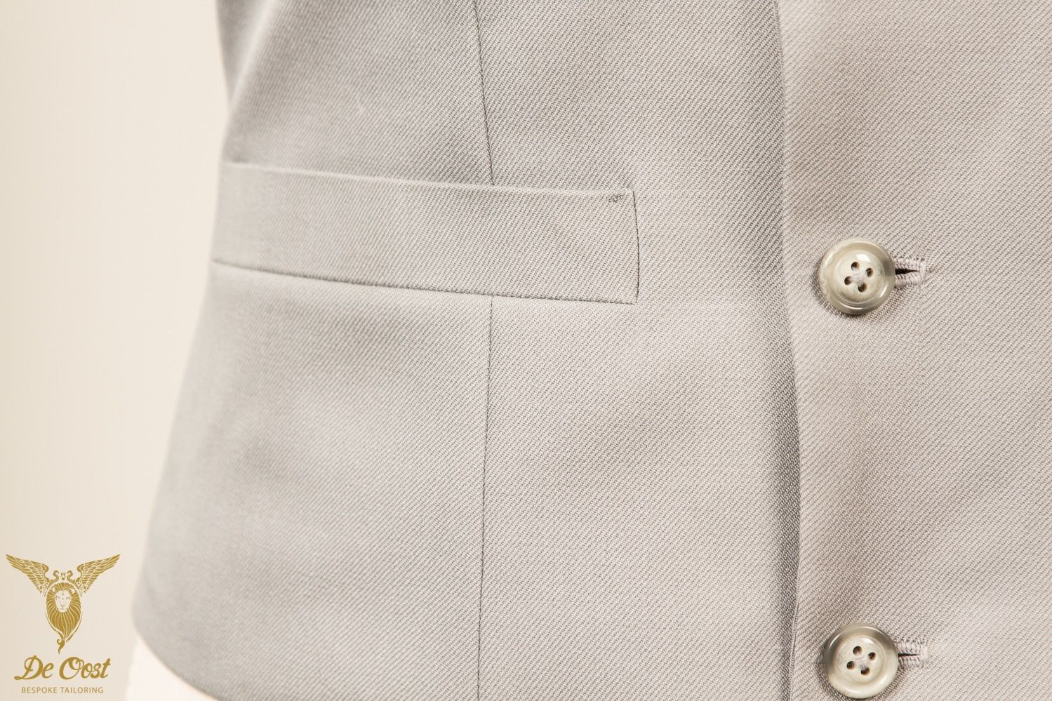 Handmade silver-grey 6-button double breasted waistcoat with peak lapels.7