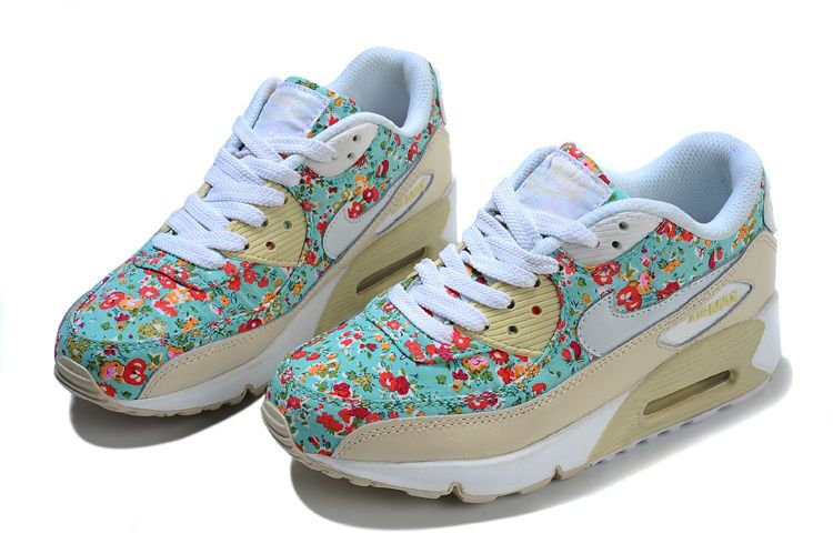 New Arrival Nike Air Max 90 Womens Small Floral Sport Shoes Size:36--