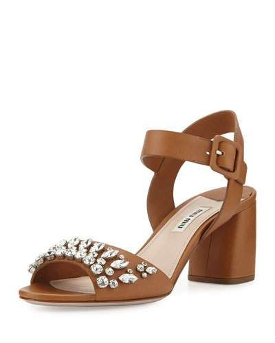 Miu Miu Jewel-Embellished Ankle Strap Sandals clearance discounts discount view M4UsM69